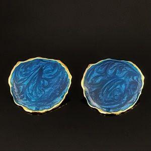 ✨Stunning Blue Paint Italy Retro VTG Stud Earrings